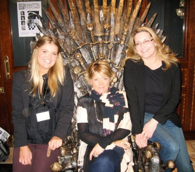 Jane on the Iron Throne with my Voyager editor Natasha Bardon and deputy publishing director Emma Coode