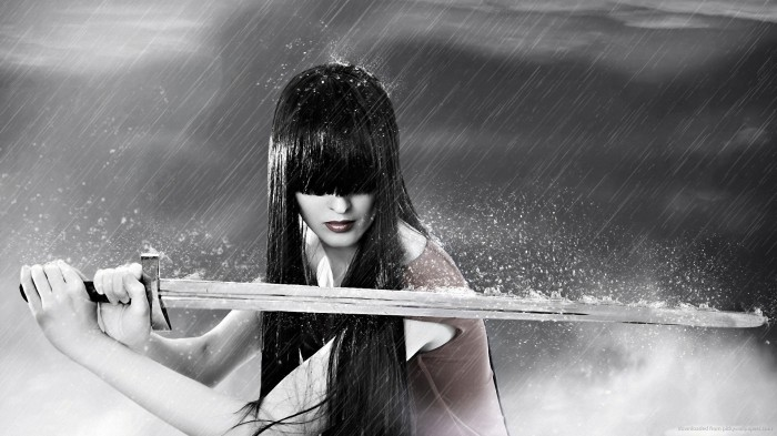 girl-with-a-sword-in-rain